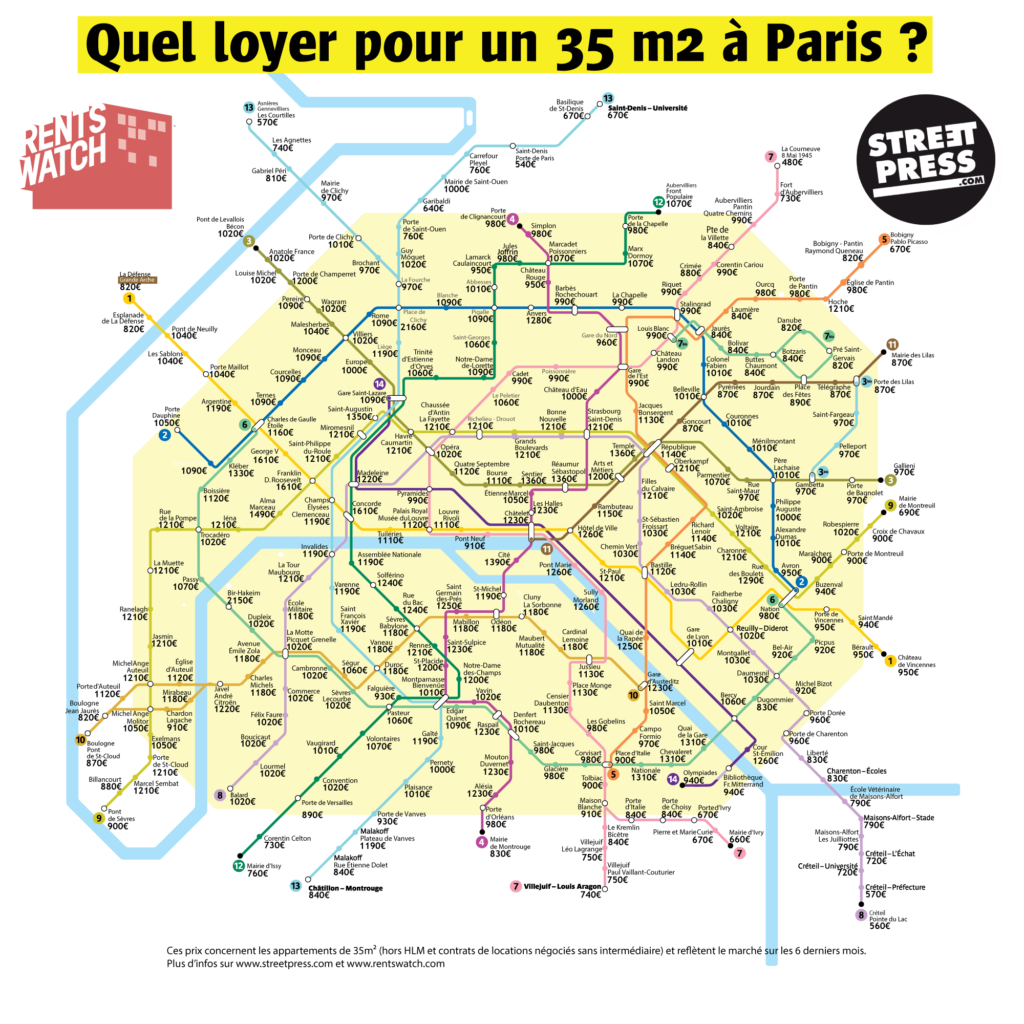la carte des loyers d 39 un 35 m2 paris pour chaque station de m tro. Black Bedroom Furniture Sets. Home Design Ideas